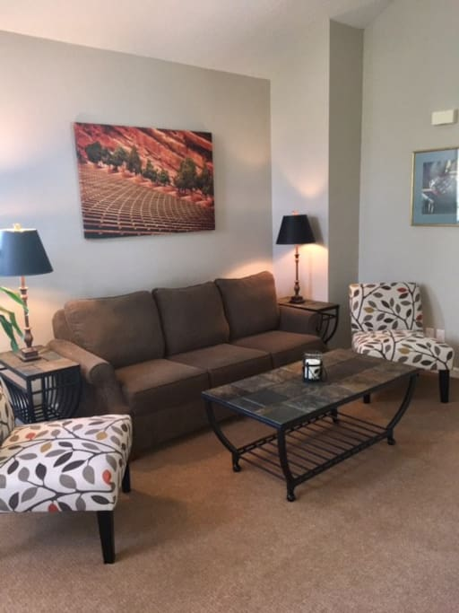 Living area with pull out sleeper sofa