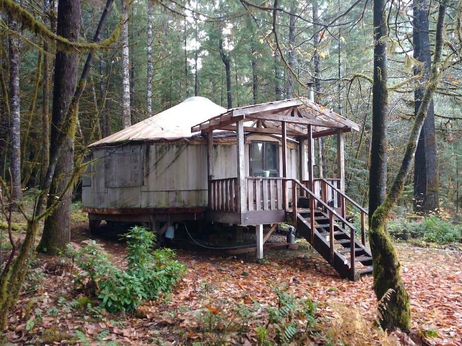 Yurt during the fall season