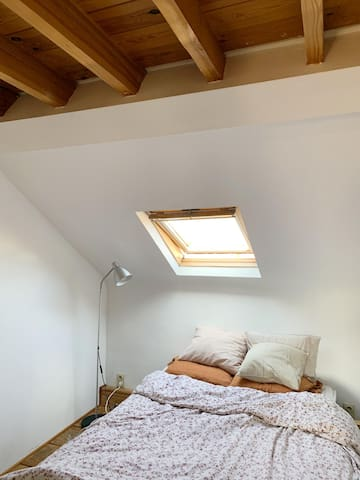 Bright bedroom. Can be made completely dark by shutters.