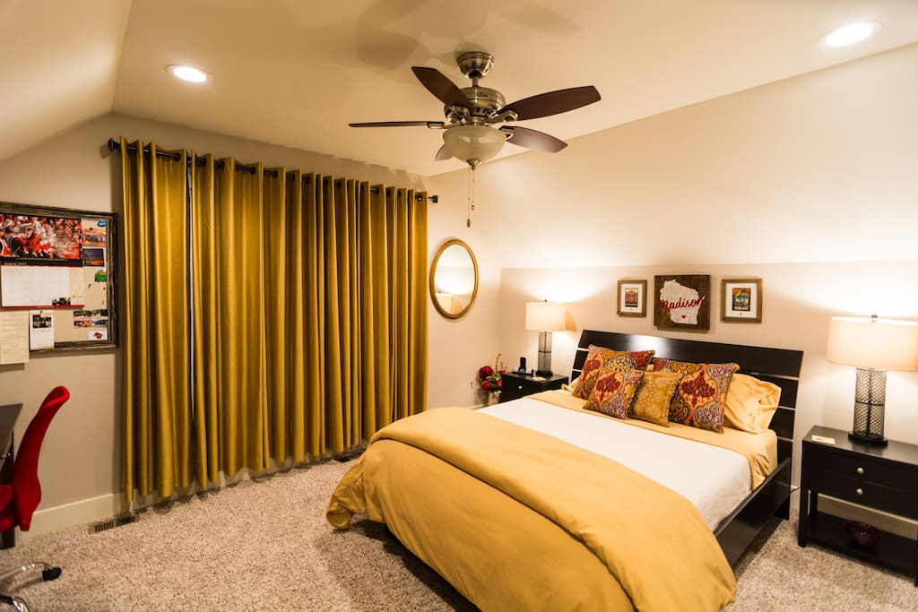 Main Guest Room. The comfy queen size bed is the perfect place to relax after a busy day