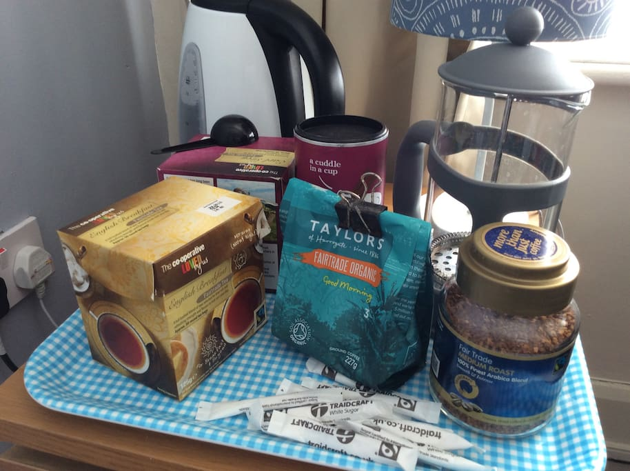 All organic/Fairtrade tea, coffee and chocolate in room