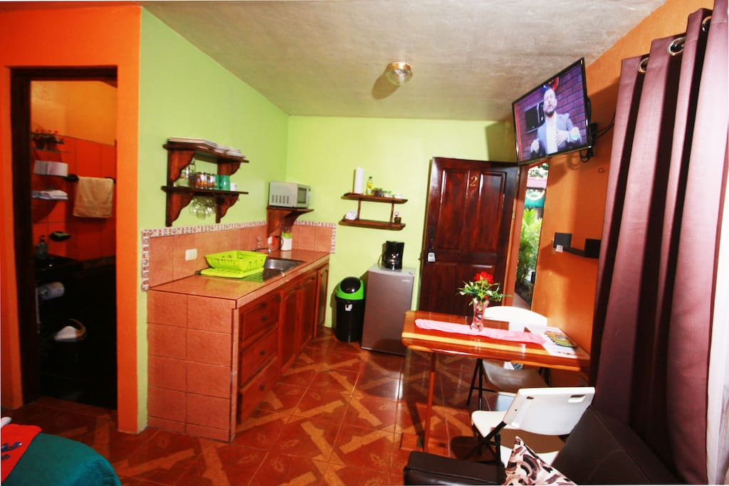 Internal space of the apartment: queen size bed, sofa-bed along with a equipped kitchen.