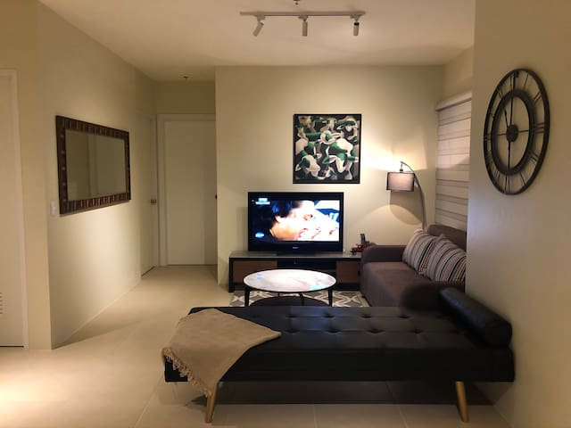 Cozy and well appointed lounge area with a big Sony flat screen TV, Samsung Bluetooth speaker, gadget chargers,  divan and queen sized fold out sofa bed