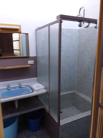 shower, vanity and toilet area