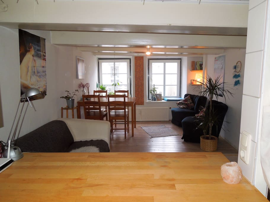 Blick von Küche ins Wohnzimmer/ View from the kitchen in the living room