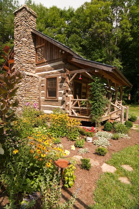 Enjoy the little flower garden beside the cabin