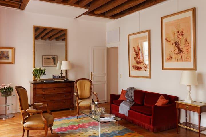 Chambre privée dans un bel appartement du Marais