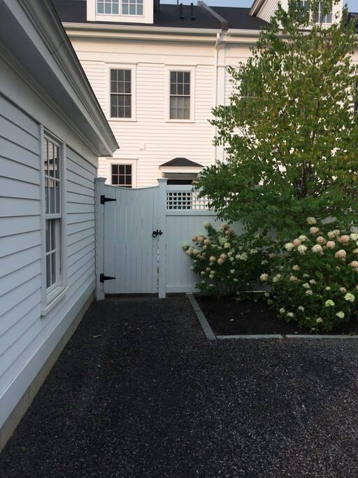 Entrance via backyard garden
