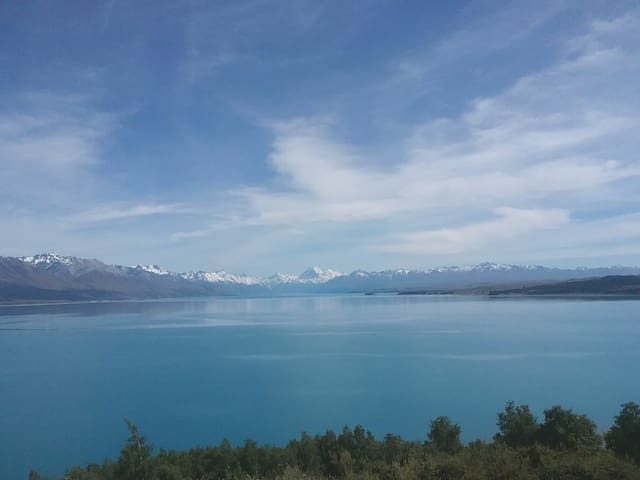 Aoraki/ MT Cook over Lake Pukeki..........a short drive from our home.