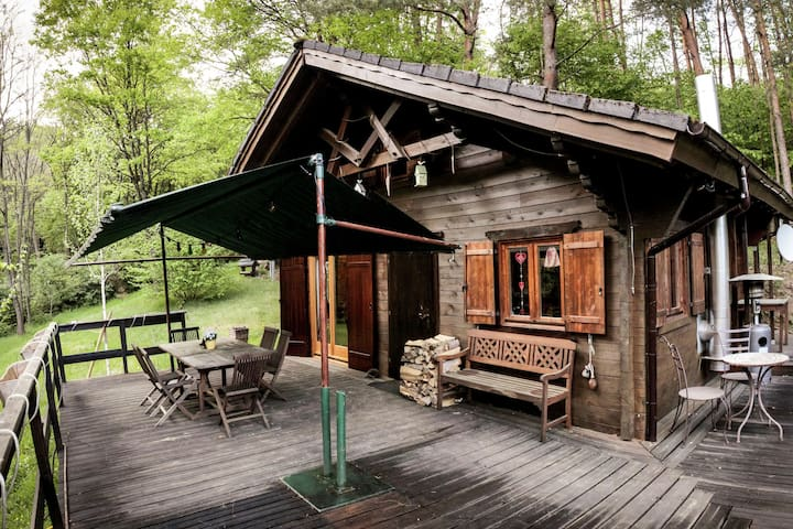 Wooden chalet with private sauna in the Moesel in woods with beautiful view