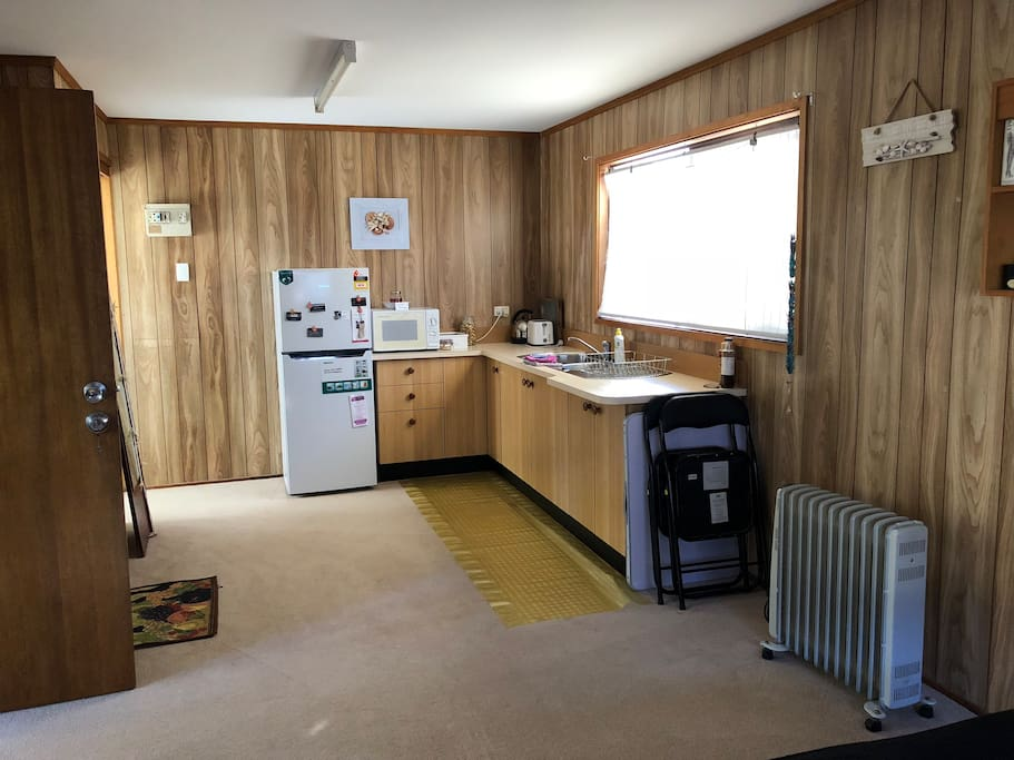 Kitchenette with breakfast makings and new fridge!