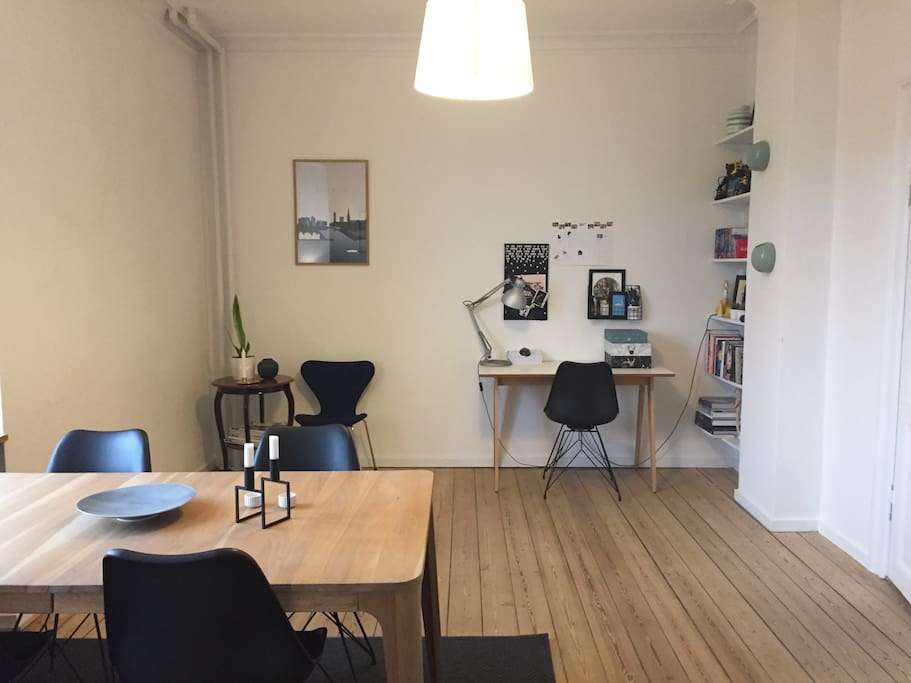 Dining room with work space