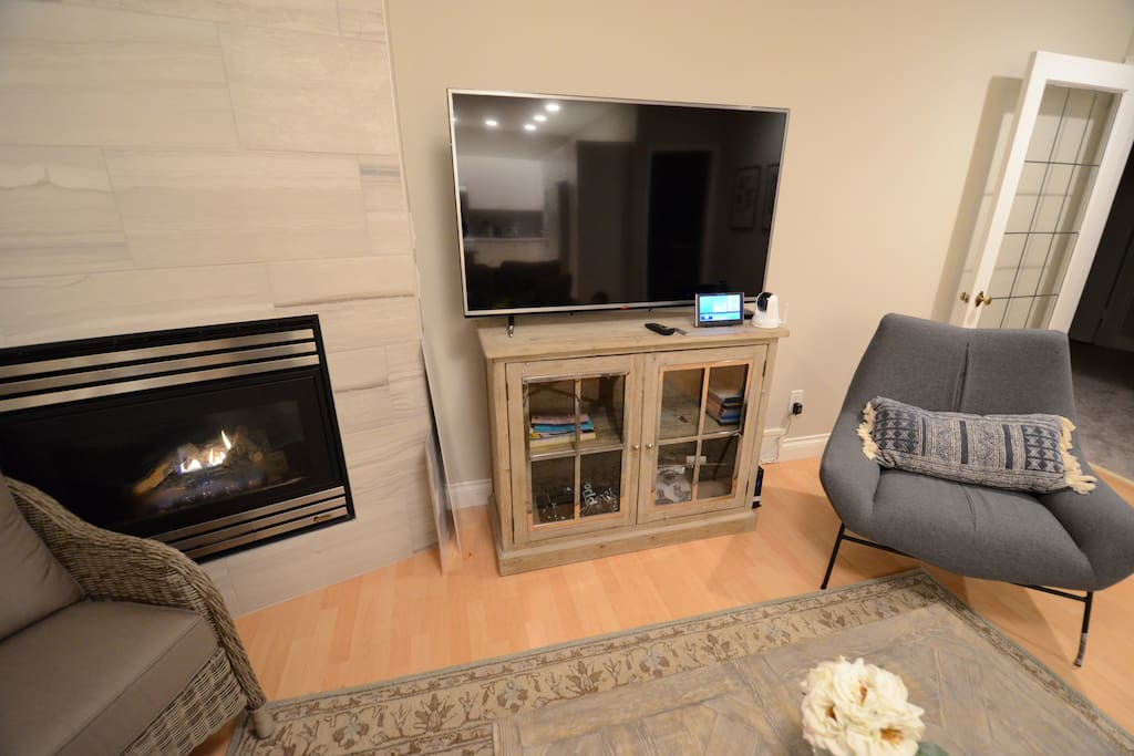 TV and second fireplace.