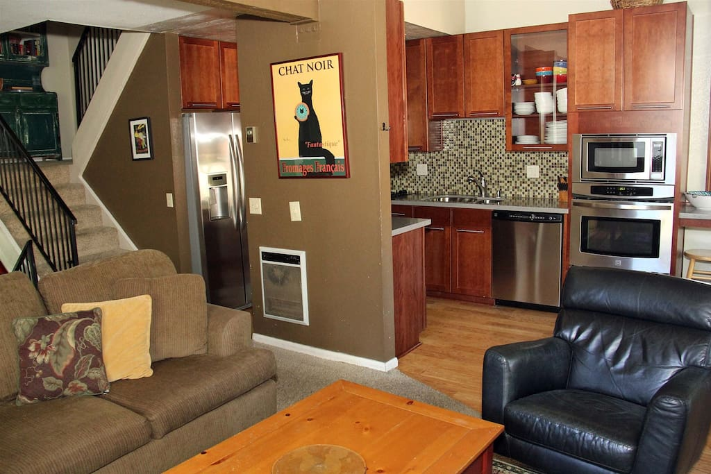 Mammoth Condo Rental Chamonix 85- Living Room, Open Concept to Kitchen and Stairway