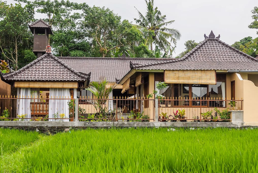 view of Villa Shanti from the rice fields