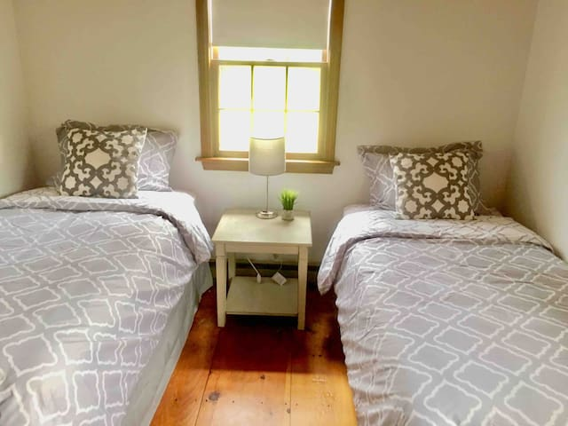 Bedroom downstairs with 2 twin beds