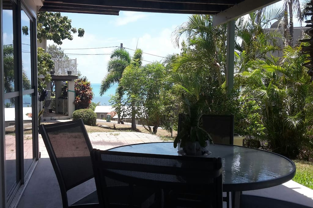 24/7 shaded verandah with open access drive way that opens to our cozy tree enclosed backyard, means you can enjoy that warm tropical breeze all day long