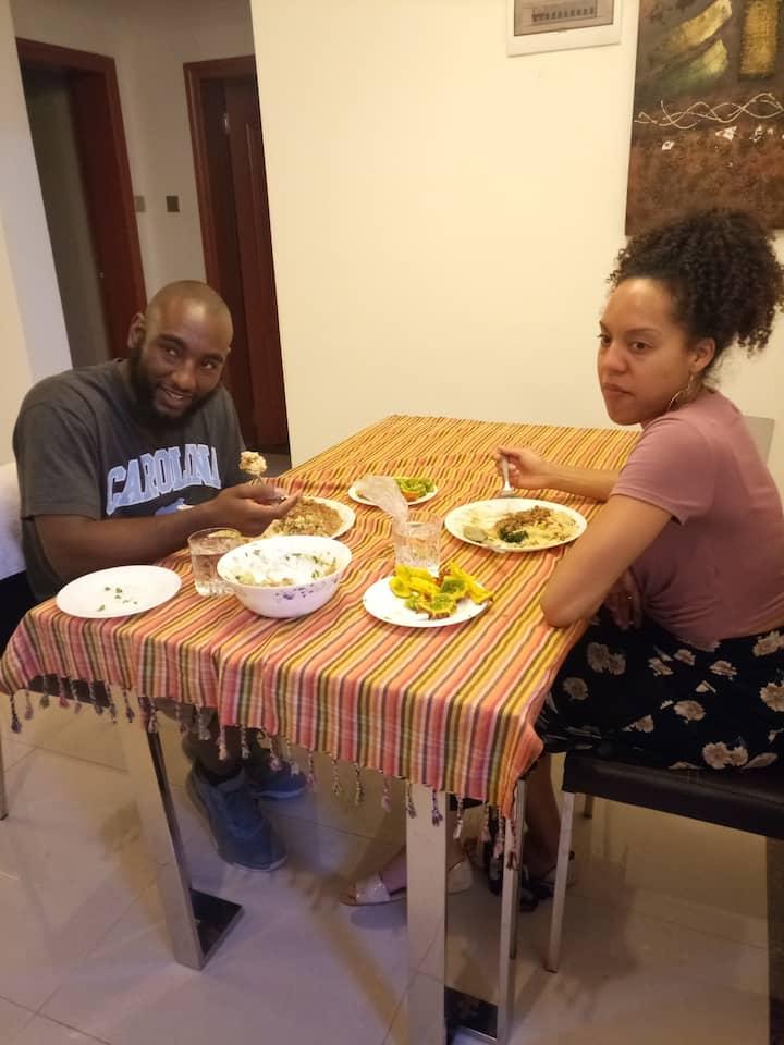 My guests enjoying their food