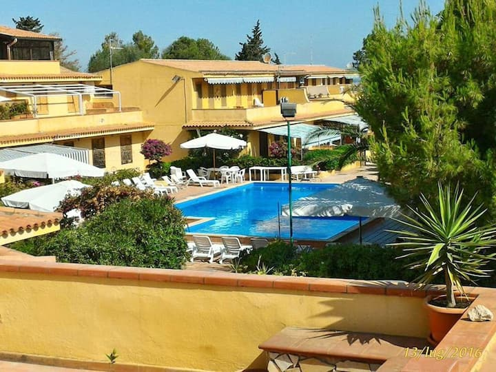 Studio in Costa Saracena - Castelluccio, with wonderful sea view, shared pool, furnished terrace - 30 m from the beach