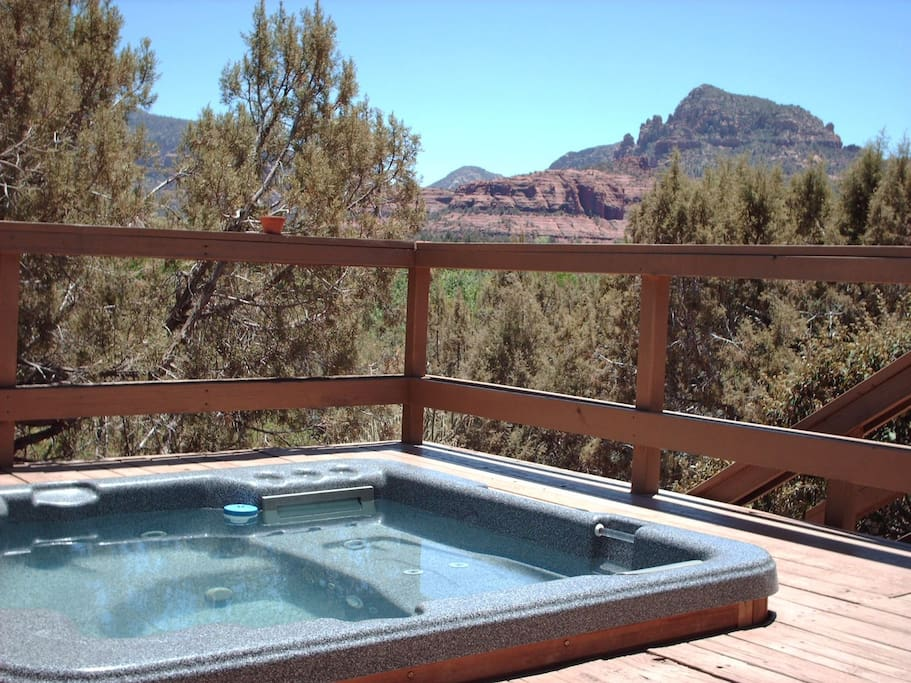 Spectacular red rock views from the private hot tub on the deck.
