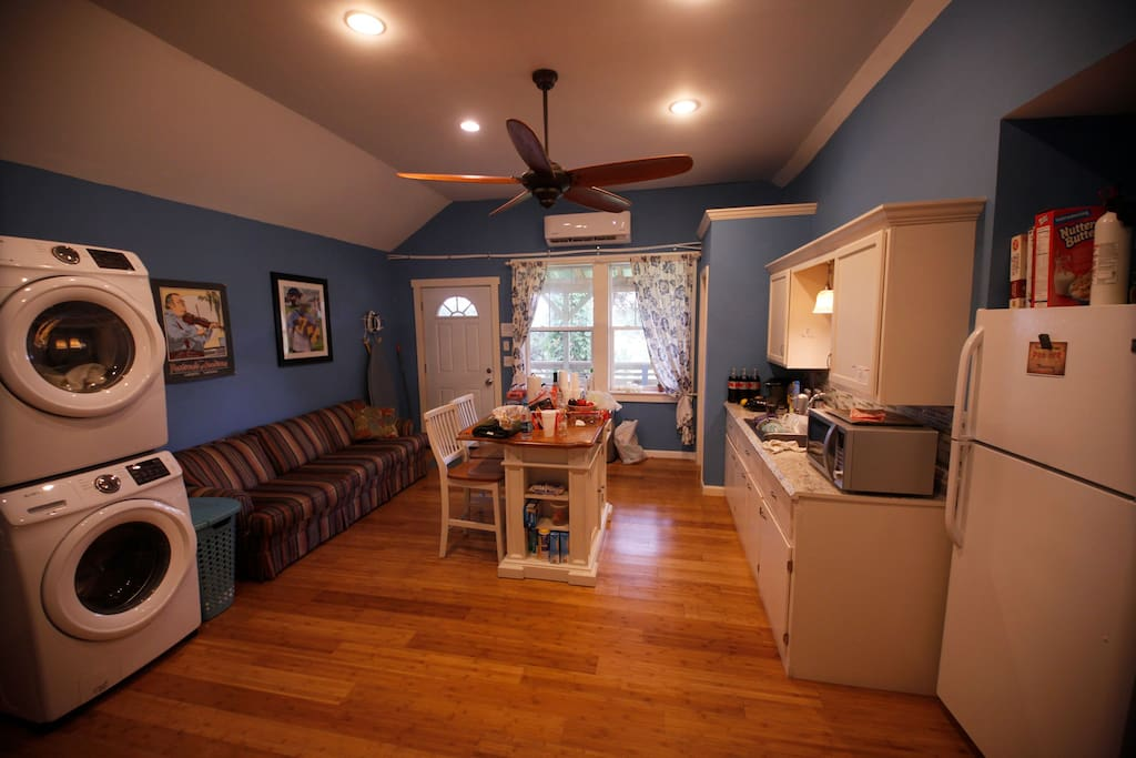 Upstairs kitchen for guests only; washer dryer; fridge, microwave; cooktop.  No full oven.