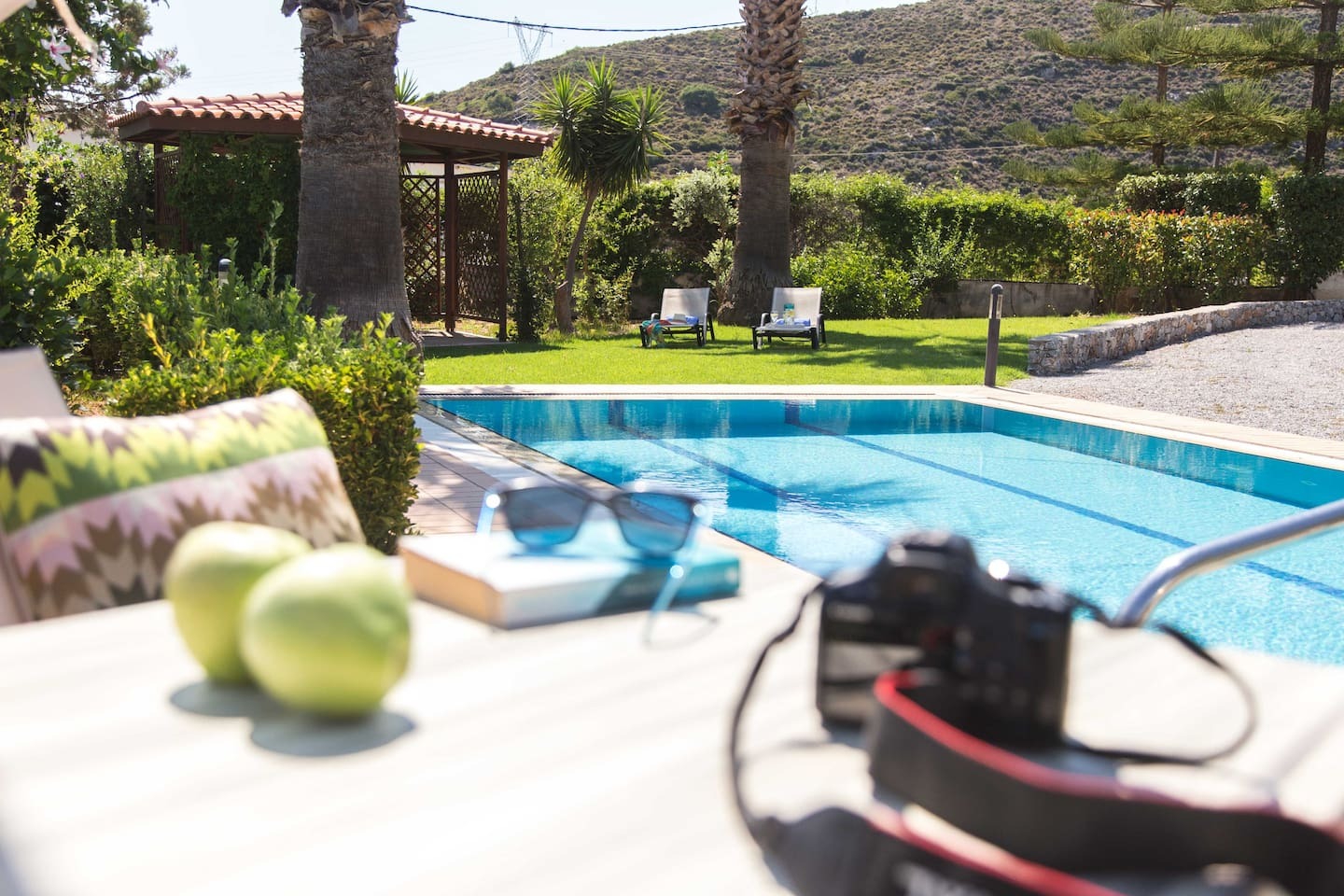 Your book, your sunglasses, your camera and a healthy breakfast by the pool!