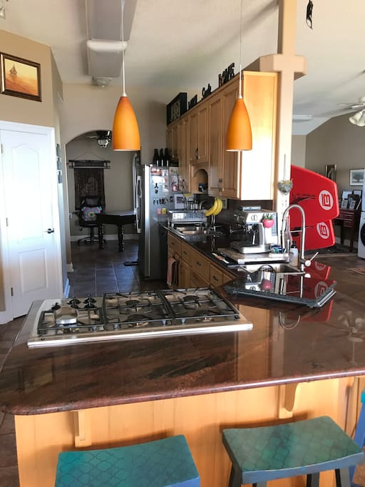 Granite counter tops with gas stove