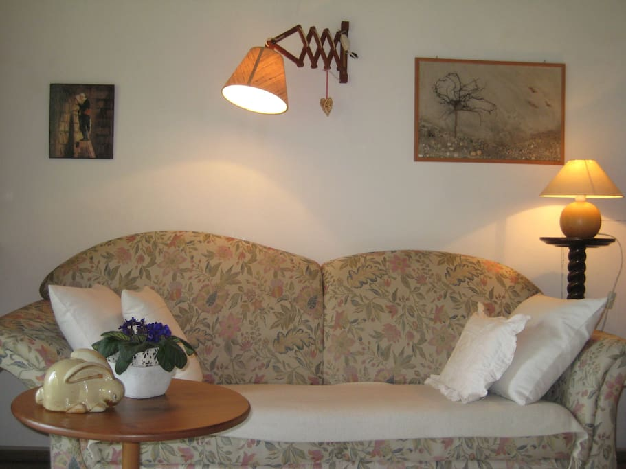 Sofa im Wohnzimmer & es gibt ein weiteres Sofa zum Liegen