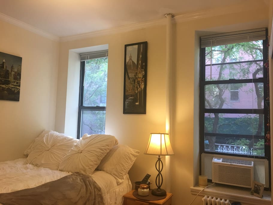 Main bedroom featuring a queen sized bed, dresser for storage, tall bookcase with shelving storage, full length closet with hanging storage, HDTV, Apple TV,  new Air conditioning unit  (2018) with a remote control
