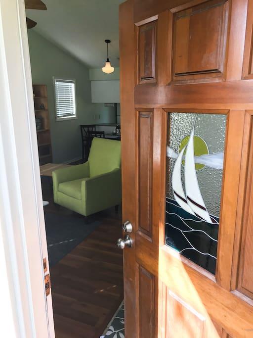 Custom sailboat glass in the front door