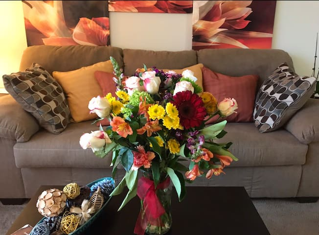 My beautiful flowers and couch