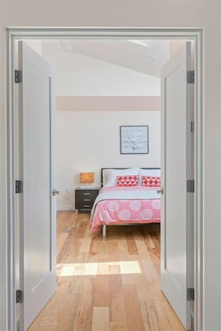 Bedroom area is right through the double doors.