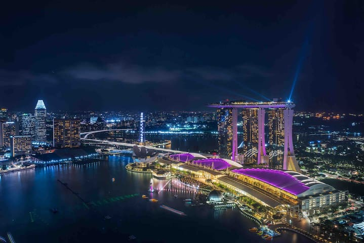 Entire Marina bay view high floor 1MinMRT金莎景近地铁包接机