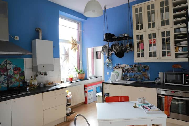 1 bedroom in a bright high ceiling apartment