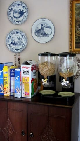 ...to enjoy the breakfast of your choosing.  On offer are cereals and juices...