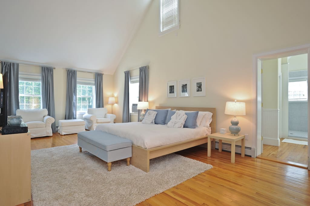 Master Bedroom, Private Bath, Down Feather Bed, Comforter, Pillows, Frette Pressed Cotton Sheets
