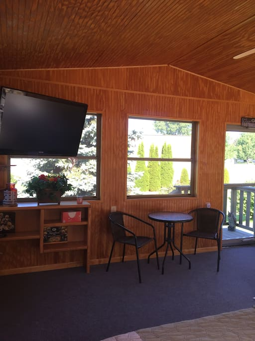 TV and space for table, chairs, or Queen Size Air Mattress