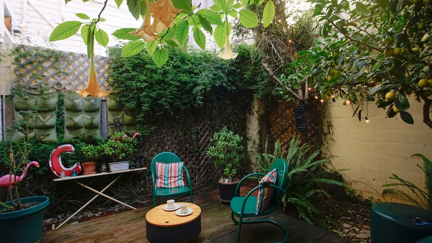 Your private garden oasis, perfect for that morning cup of coffee or sitting under the stars in the evening.  When the jasmine is in bloom the smell is intoxicating.  In winter, the jasmine on the walls is cut back to groom the plant.
