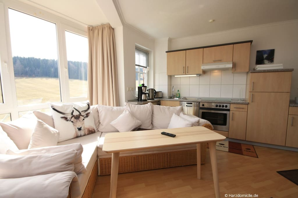 Wohn- /Essbereich mit offener Küche und Bett
