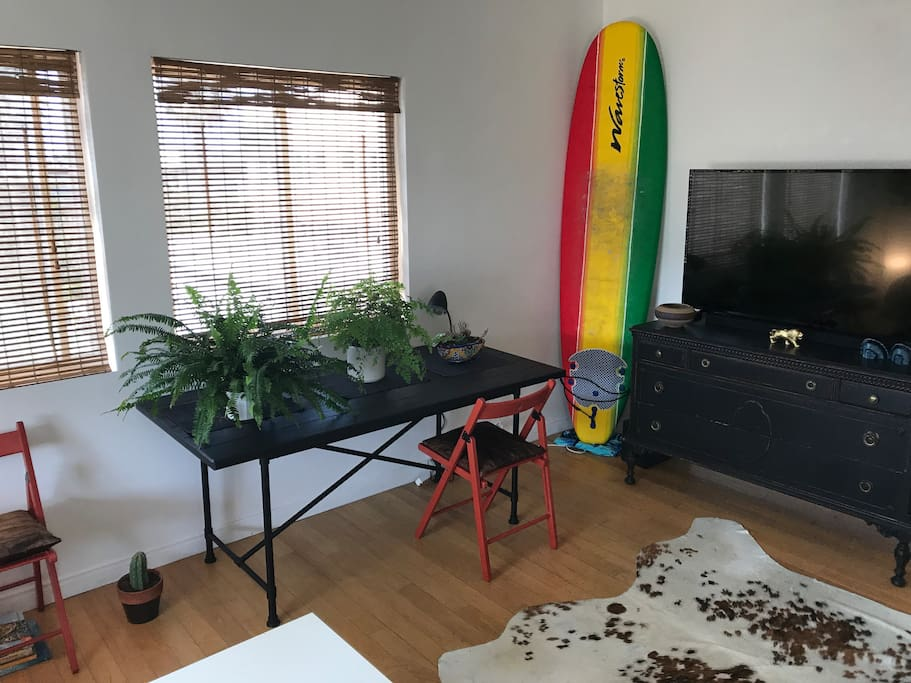 "Plenty of plants and a 55"" TV for when the sun goes down after a long day at the beach."