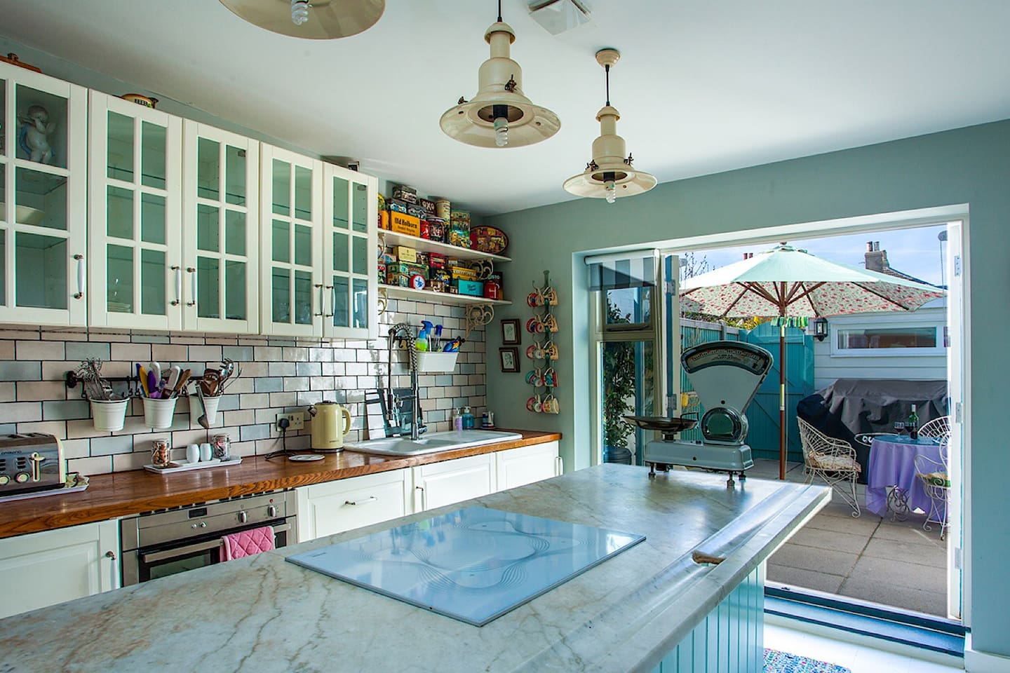 Induction hob, hide and slide oven, dishwasher, washer/dryer, Sage coffee maker and a HUGE fridge/freezer makes this kitchen one of the best equipped holiday cottages