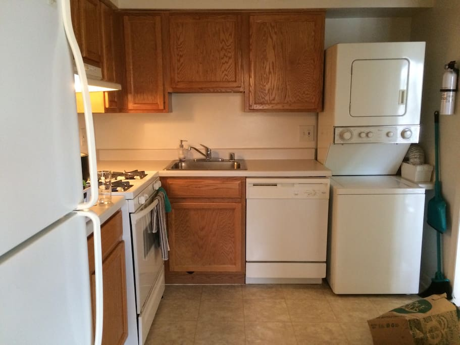 Full kitchen. Washer and dryer.