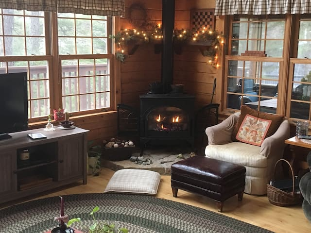 Cozy living room with fireplace!