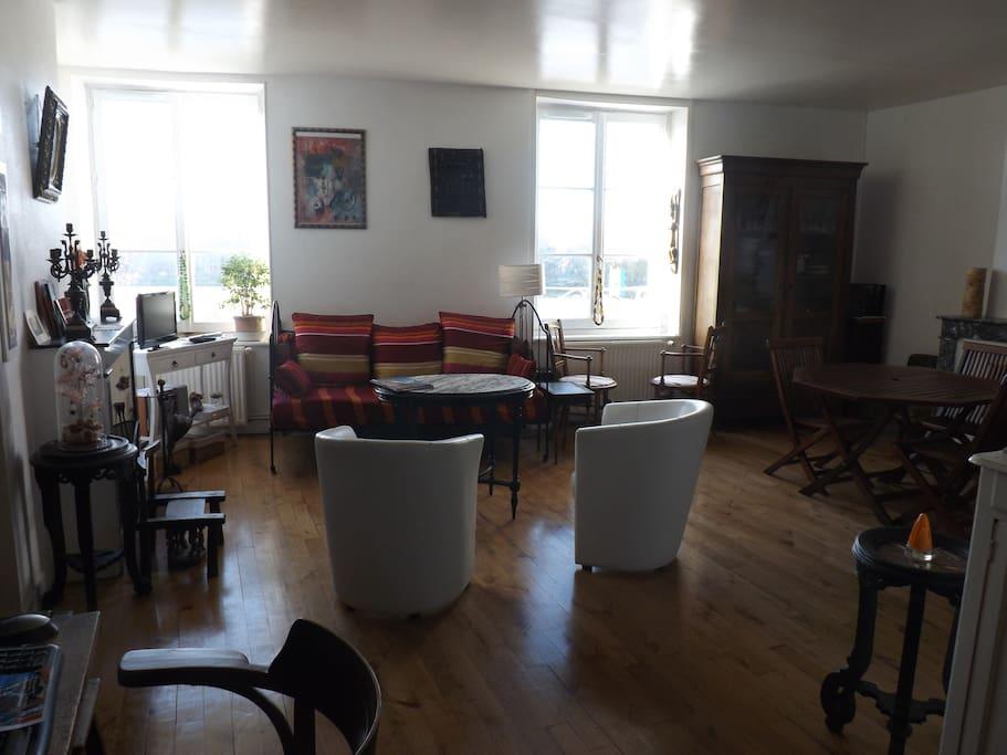 La pièce à vivre qui donne sur la Loire.