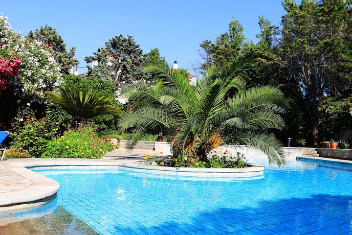 Old wine factory villa,50m from the beach