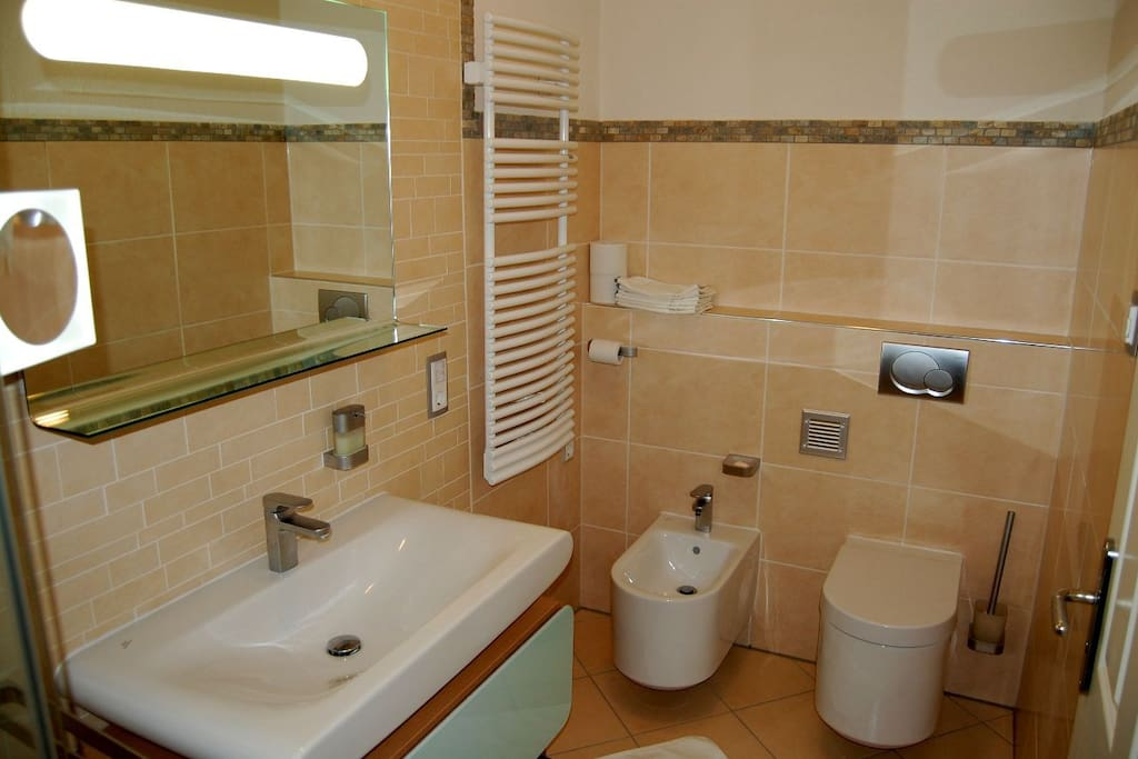 With state of the art equipment, shower cabin, bidet and a large hand basin.