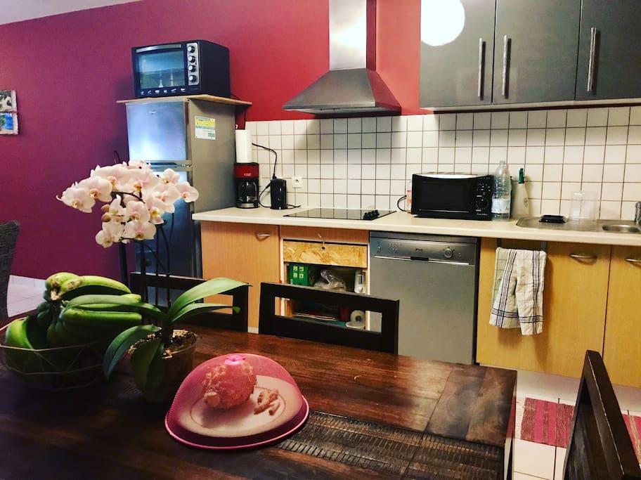Cuisine avec plaques, four, frigo, lave vaisselle...