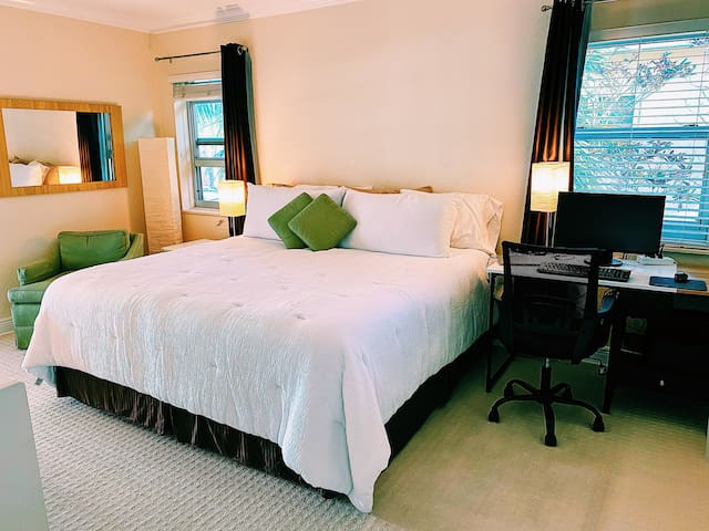 Large bedroom with king bed, thinking chair, tv and work desk