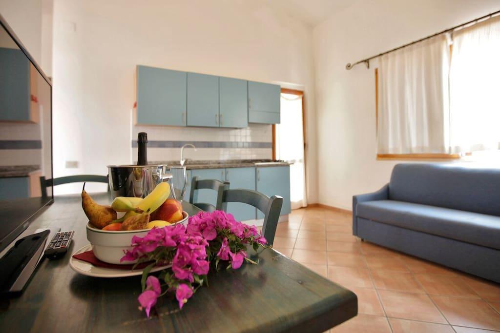 living angolo cottura divano letto