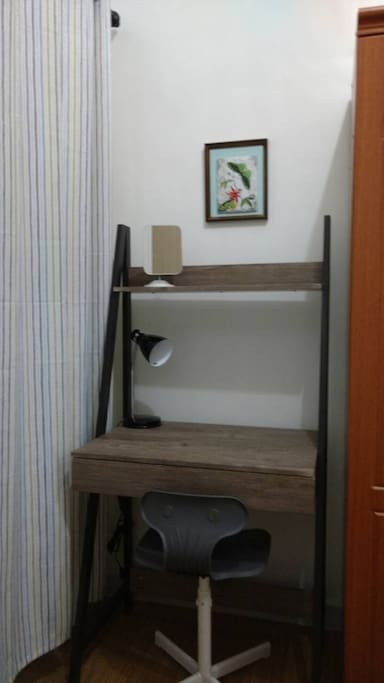 Study table with lamp and mirror
